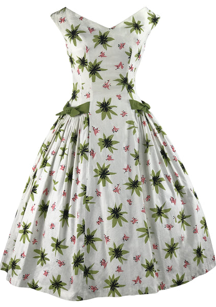 Vintage 1950s Atomic Floral Print Cotton Dress- New!