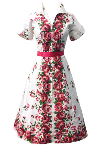 Sensational 1950s Red Roses Cotton Dress- New!