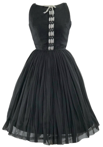 Vintage Late 1950s Black Silk Chiffon Party Dress - New!