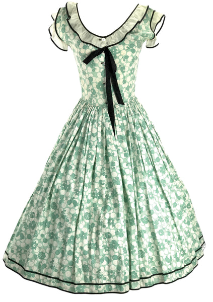 Late 1930s Early 1940s Green & White Floral Cotton Dress  - New!