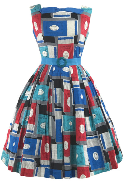 Late 1950s Matchbox Novelty Print Dress - New!