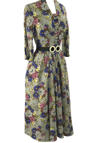 Vintage 1940s Floral Bouquet Crepe Draped Dress - New!