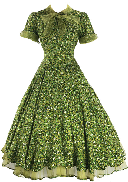 Spectacular Early 1950s Green Daisy Print Dress- New!