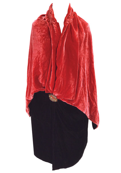 Original 1920s Watermelon & Black Velvet Cape Coat - New!
