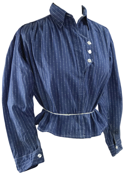 Antique 1900 - 1910 Blue Cotton Drill Shirt - New!