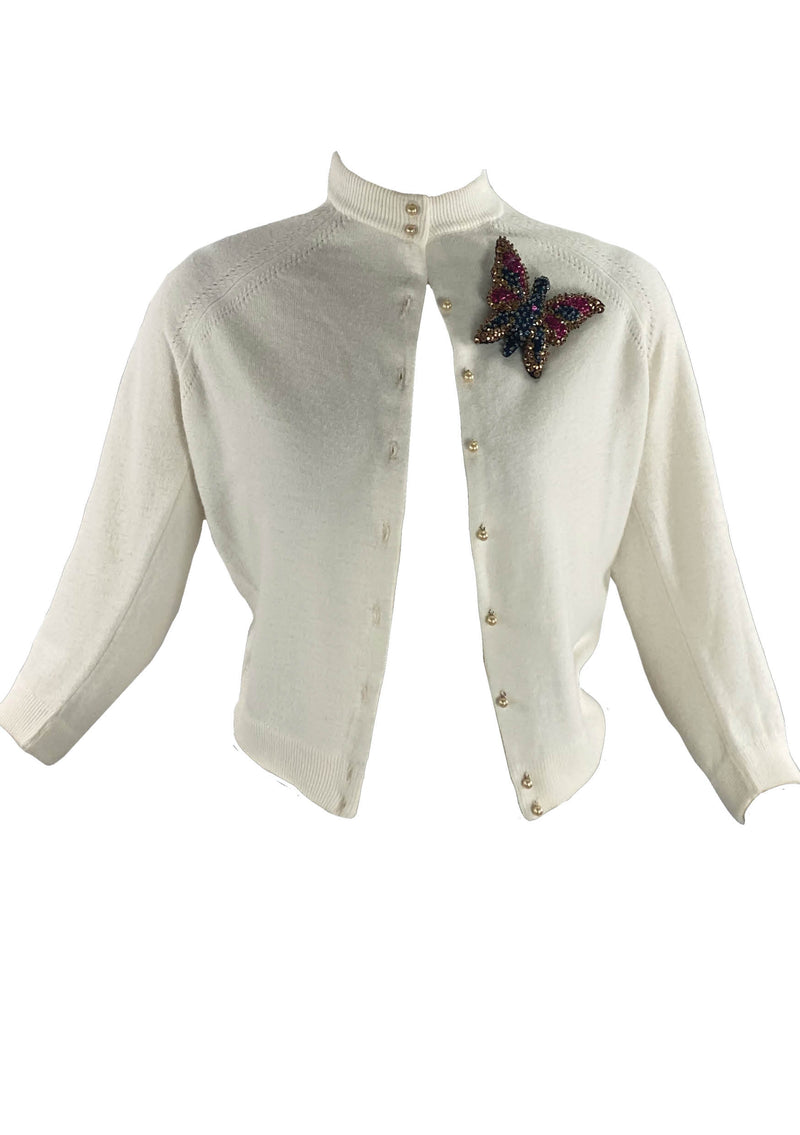 Vintage 1950s Ivory Cashmere Wool Blend Cardigan Sweater- New!