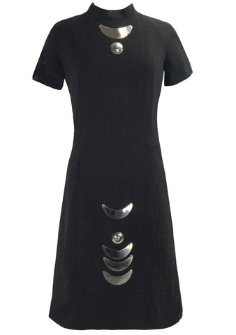 1960s Designer Black Wool Space Age Dress- New!