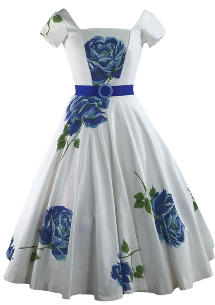 1950s Huge Blue Long Stem Roses Pique Dress - New!