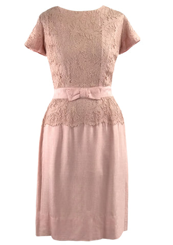 Vintage 1950s Pink Linen Blend Dress with Lace Inserts  - New!