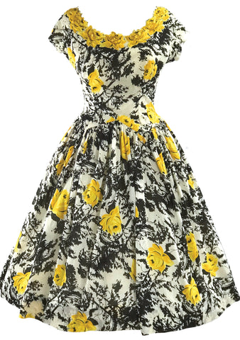 1950s Golden Roses Applique Cotton Dress - New!