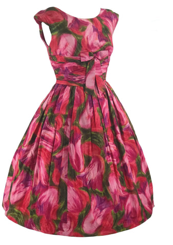 Vibrant 1950s Abstract Pink Tulips Cotton Dress - New!