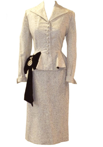 Couture 1950s Oatmeal Textured Wool Lilli Ann Suit - New!
