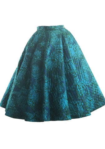 Vintage 1950s Turquoise and Blue Quilted Skirt- New!