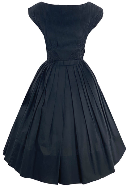 1950s Inky Black Cotton Dress- New!