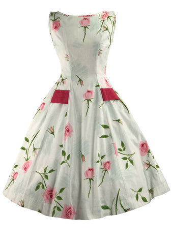 Vintage 1950s Pink Rose Print & Sash Dress- New!