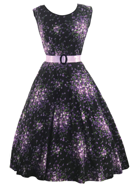 1950s Purple Floral Sprays on Black Cotton Dress- New!