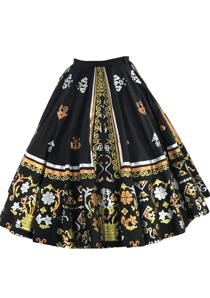 Vintage 1950s Maya de Mexico Hand Painted Skirt- New!