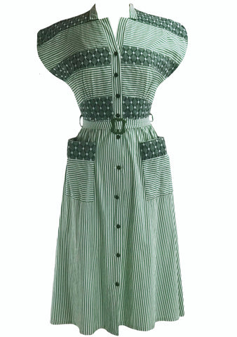 13c81a192 Late 1940s Early 1950s Green & Ivory Stripe Dress- New!