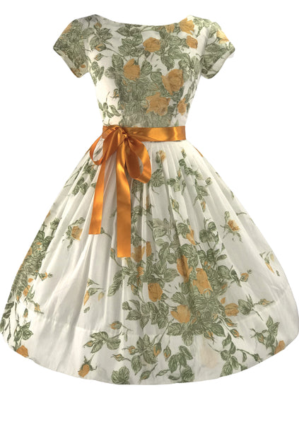 Glorious 1950s Golden Rose Spray Cotton Dress - New!