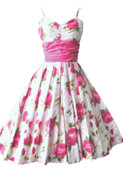 Vintage 1950s Pink Roses Crisp Cotton Dress - New