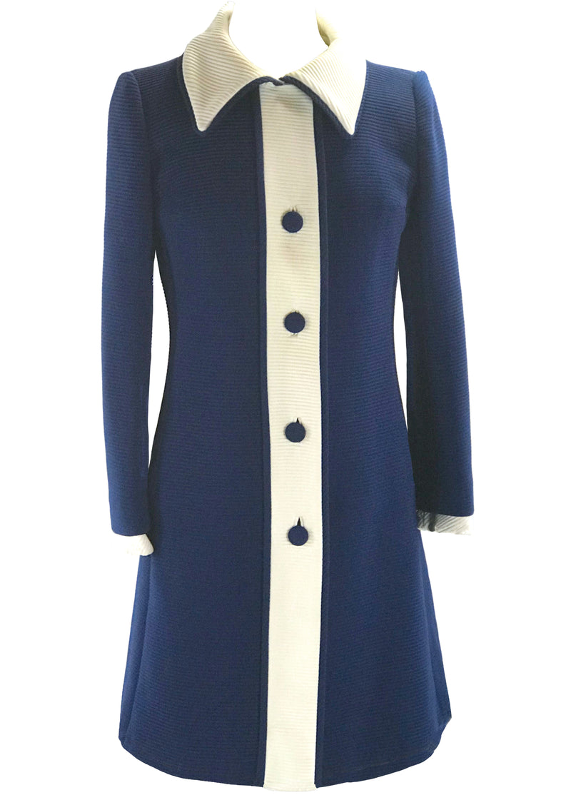 Designer 1960s Blue & White Lilli Ann Coat - New! (ON HOLD)