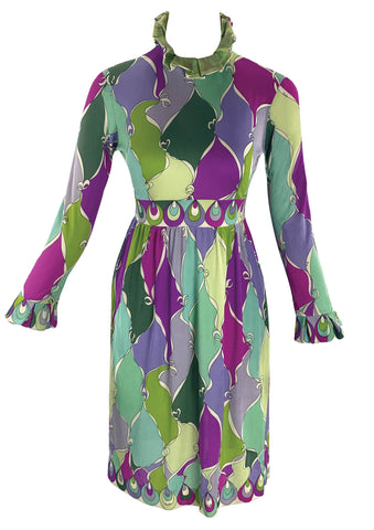 Authentic 1960s Op Art Silk Jersey Pucci Designer Dress- New!