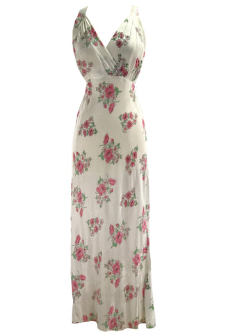 Stunning 1930s Floral Bias Cut Nightgown  New!