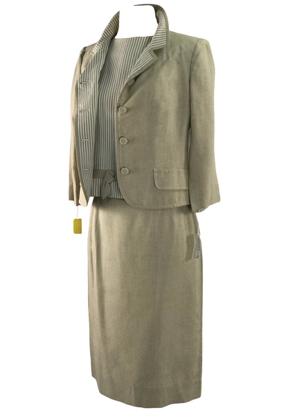 Vintage Early 1960s s Oatmeal Three Piece Suit - New!