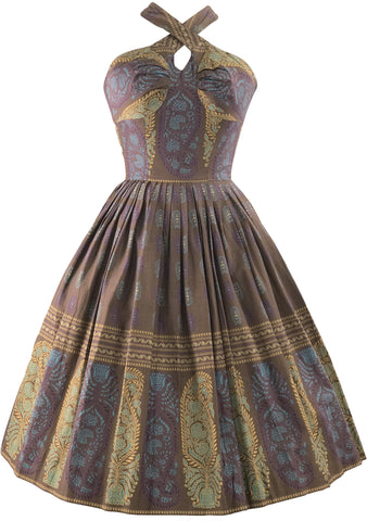 1950s Batik Border Print Halter Sundress - New! (LAYAWAY)