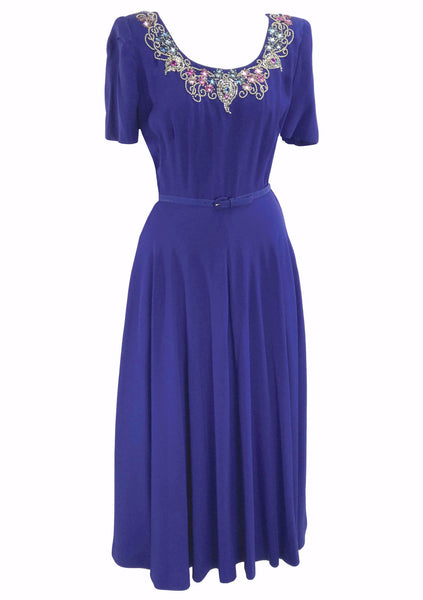 1940s  Blue Beaded Crepe Dress Ensemble - New!