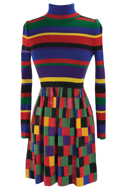 1960s Colour Block Designer Knit Dress- New!