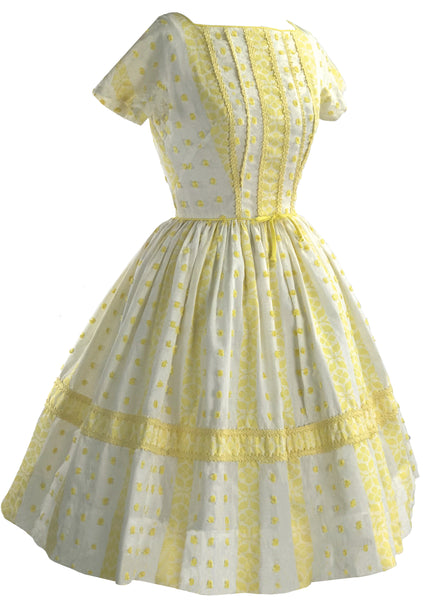 Late 1950s Buttercup Yellow & White Cotton Dress  - New! (RESERVED)