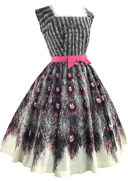 Vintage 1950s Pink Peacock Print Cotton Dress- New! (ON HOLD)