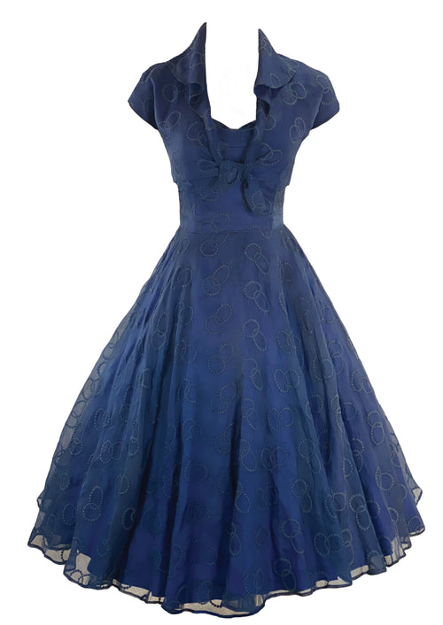 Vintage 1950s Navy Organza Cocktail Dress Ensemble- New!