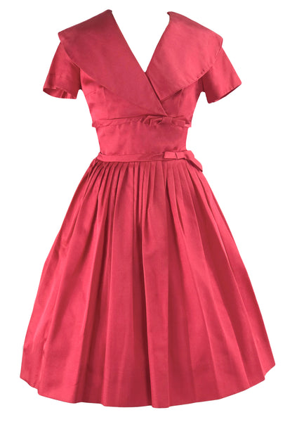 Late 1950s Early 1960s Cranberry Pink Day Dress - New!