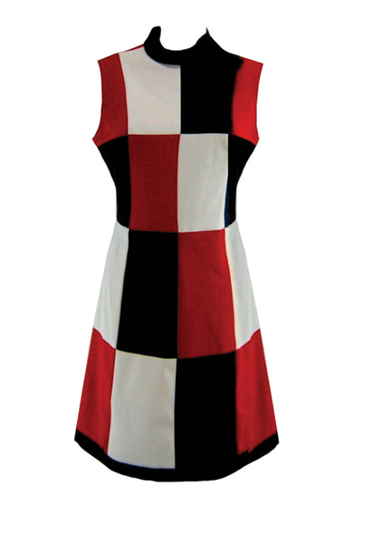 1960s Mod Red, Black & White Mondrian Style Dress - New! (On Hold)