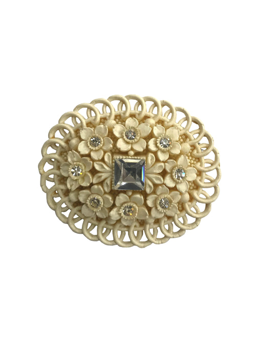 Vintage 1930s Cream Celluloid Brooch with Rhinestones - New!