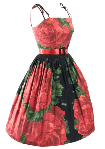 Vintage 1950s Collectable Large Red Roses Dress- New!