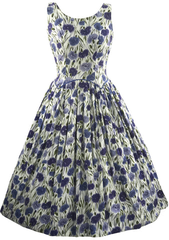 1950s Blue Carnations Cotton Dress- New!