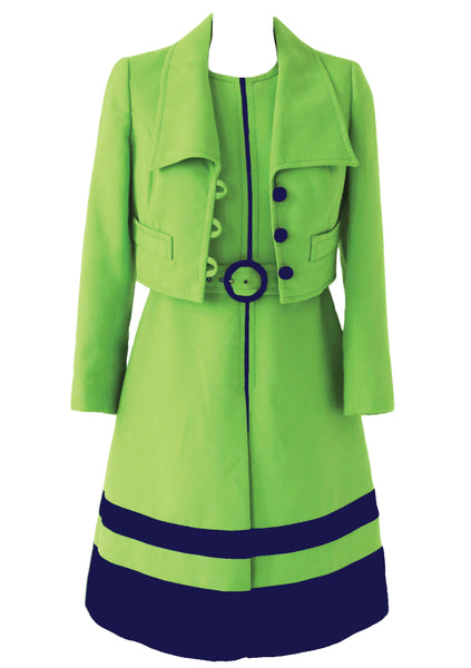 Vintage 1960s Lime Green & Navy Designer Ensemble - New!