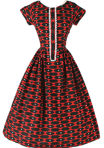 Vintage 1950s Red/Black Geometric Print Dress- New! (