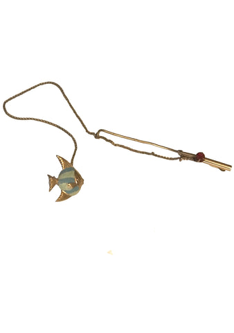 Vintage 1940s Novelty Fishing Rod Brooch - New!