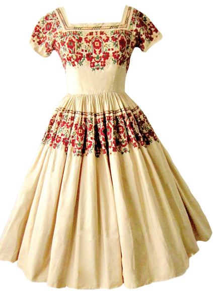 Vintage 1950s Cream Embroidered Cotton Dress  - New! (On hold)