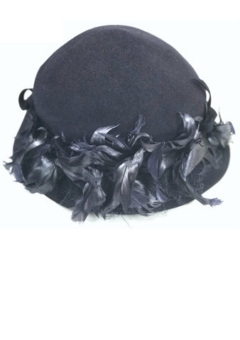 Vintage 1930s Navy Blue Felt Hat with Feathers - New! (Lay-by for Mia)