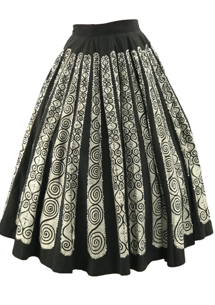 Late 1940s Early 1950s Mexican Print Sequin Skirt  New!
