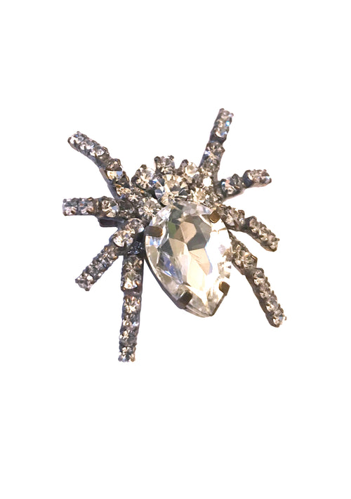Stunning Czech Clear Crystal Spider Brooch  - New!