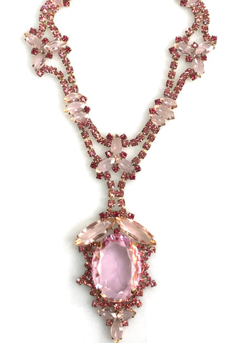 Tourmaline Pink Large Central Drop Czech Necklace - New!