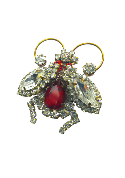 Beautiful Czech Rhinestone Bug  Brooch- New!