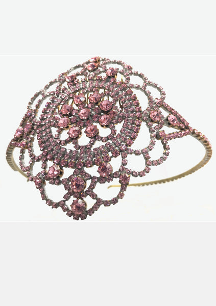 Gorgeous Pink Tourmaline Crystal Czech Headband  - New!