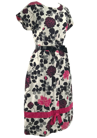 Vintage 1950s Hot Pink & Black Roses Cotton Dress- New!